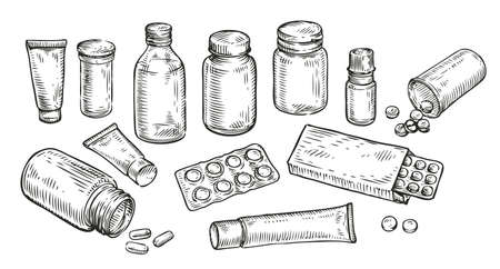 Medicines, pills and bottles sketch. Medicine, pharmacy concept vintage vector illustration