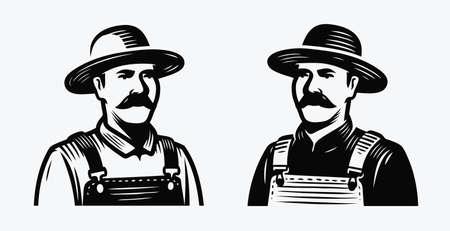 Farmer symbol. Farm, agriculture vintage vector illustration