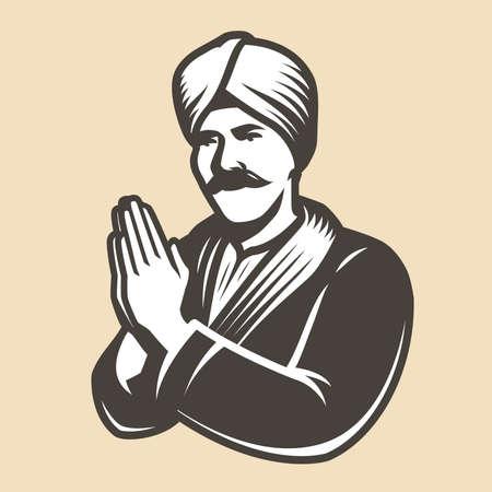 Prayer, faith symbol. Religion vintage vector illustration