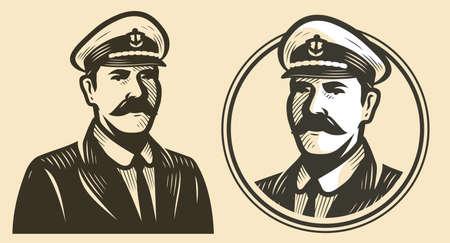 Portrait of ship captain. Sailor sketch vintage vector Ilustração