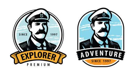 Sea captain emblem. Sailing symbol vector