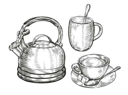 Tea concept sketch. Kitchen utensils vintage vector illustration