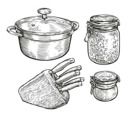 Tableware sketch. Cooking, food concept vintage vector illustration