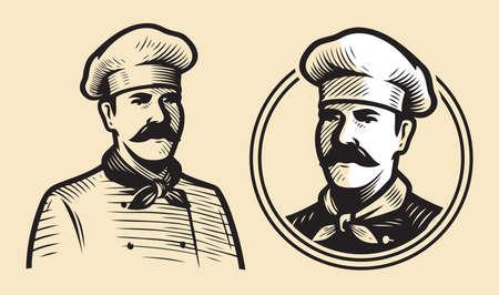 Chef sketch. Restaurant emblem, food concept vintage vector illustration
