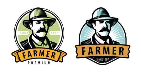 Farmer emblem. Farm, farming symbol vector illustration