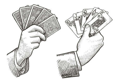 Poker cards Straight Flush in hand. Playing cards sketch vintage vector illustration