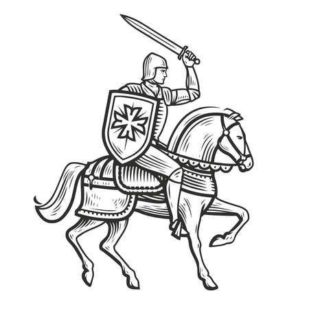 Knight in armor on horseback. Medieval heraldry symbol vector illustration 向量圖像