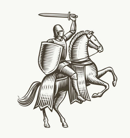 Knight on horseback. Medieval heraldry symbol vector illustration 向量圖像