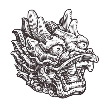Chinese dragon sketch. Vintage vector illustration