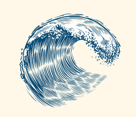 Sea wave sketch. Surfing concept vintage vector illustration