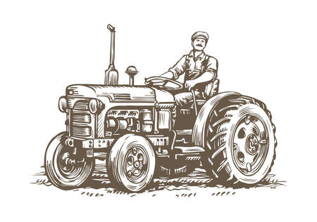Farm tractor retro sketch. Agricultural machinery vintage vector illustration