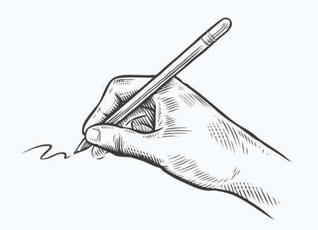 Pen in hand sketch. Drawing, writing vintage vector illustration