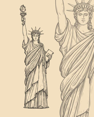Statue of Liberty sketch. New York, USA symbol vintage vector illustration 向量圖像