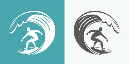 Surfing symbol. Surfer and wave emblem vector illustration