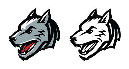 Wolf head mascot emblem. Aggressive wild animal vector illustration 向量圖像