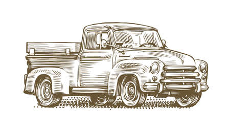 Farm truck sketch. Farming, retro car vintage vector illustration 向量圖像