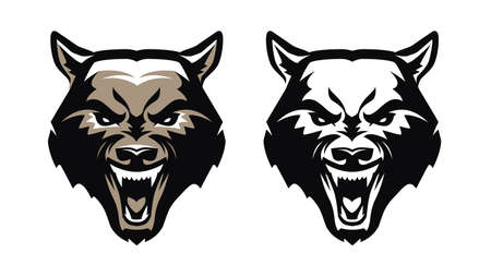 Aggressive predatory animal with fangs. Emblem vector illustration 向量圖像