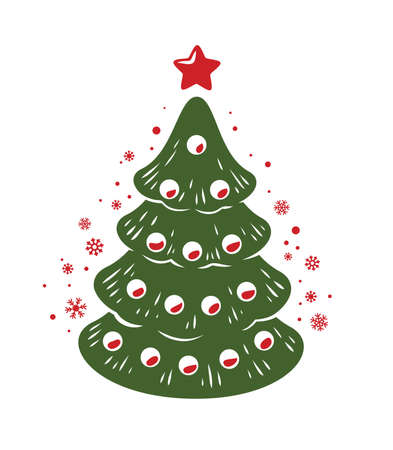 Christmas tree symbol. Winter holiday emblem vector illustration 向量圖像