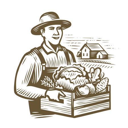 Farmer holding wooden box full vegetables. Farm, agriculture vintage vector illustration