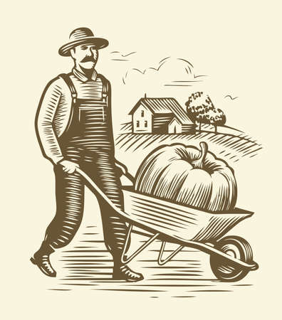 Farmer with wheelbarrow sketch. Agriculture, farm vintage vector illustration 向量圖像