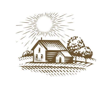 Farm emblem sketch. Agriculture, farming, village vintage vector illustration
