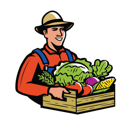 Farmer holding wooden box full vegetables. Farm, agriculture vector illustration