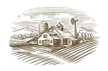 Hand drawn farm. Agriculture, farming sketch vintage vector