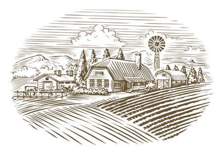 Farm. Agriculture, farming sketch vintage vector 向量圖像