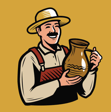 Man holding a jug. Drink emblem vector illustration