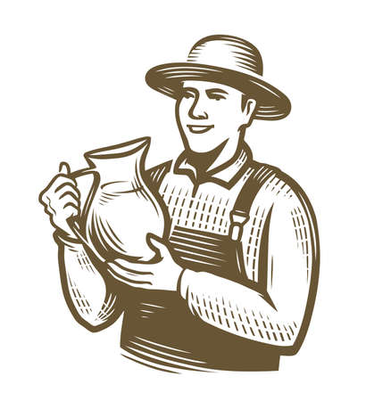 Farmer with jug of milk. Farming sketch vintage vector 向量圖像