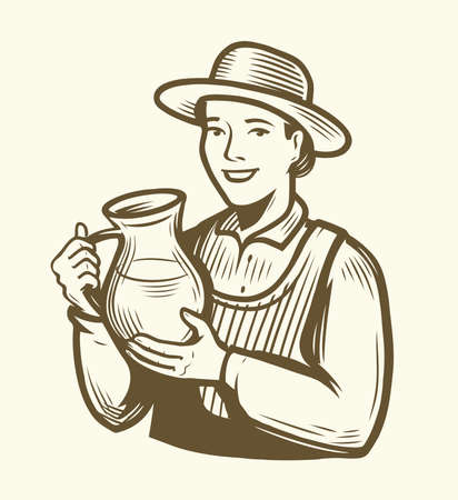 Beautiful young woman with jug of milk. Dairy farm sketch vintage vector 向量圖像
