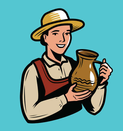 Beautiful woman holding a clay jug. Drink concept vector 向量圖像