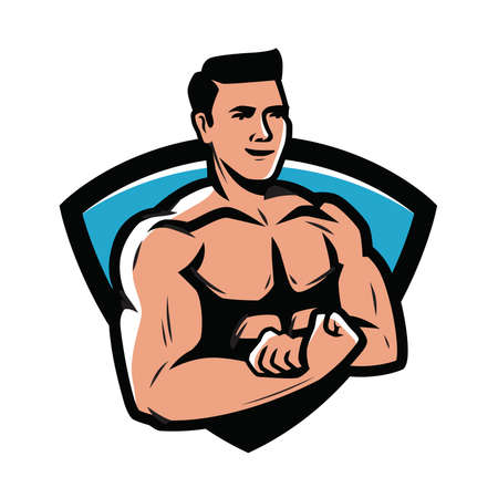 Gym club emblem. Bodybuilder, strong muscular man vector