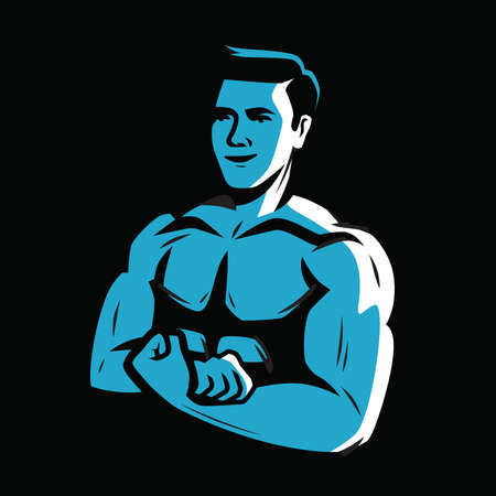 Strong and muscular bodybuilder. Weightlifting, powerlifting or bodybuilding vector illustration