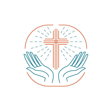 Vector church. Catholic christian glowing cross with hands