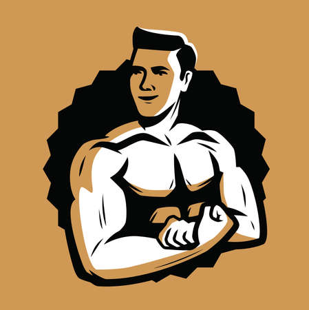Strong and muscular bodybuilder. Bodybuilding emblem vector illustration