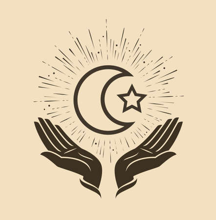 Islam. Star and crescent symbol vector
