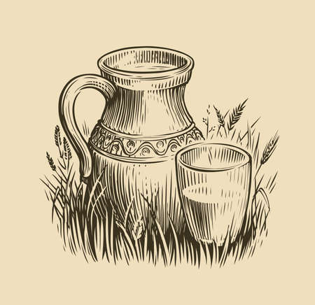 Jug of milk sketch. Dairy products vintage vector illustration