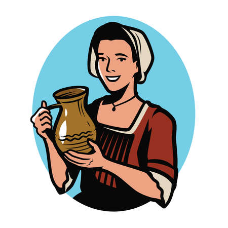 Beautiful girl with clay jug. Retro vector illustration