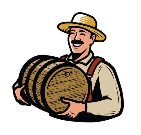 Farmer with wooden keg. Farming vector illustration