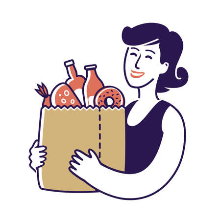 Sale of food. Girl holding paper bag with foodstuffs 版權商用圖片 - 160969501