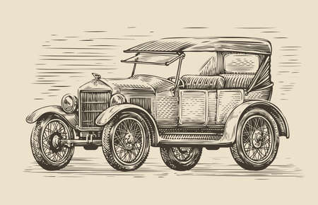 Retro car sketch. Automobile vintage vector illustration
