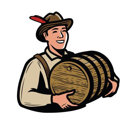 Oktoberfest, beer festival symbol. Man with wooden keg vector illustration
