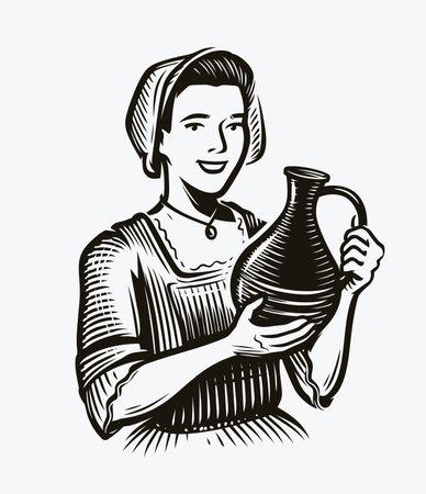 Girl with jug of wine. Alcoholic drink sketch vintage vector illustration
