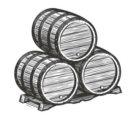 Wooden barrels for wine sketch. Alcohol vintage vector illustration 向量圖像