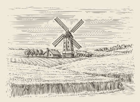 Wheat field and windmill sketch. Farm landscape vintage vector illustration