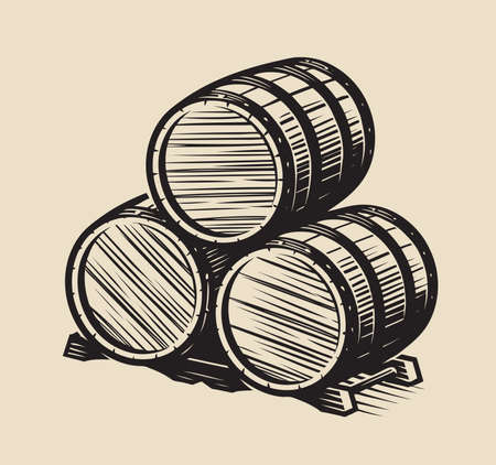 Three barrels of wine. Alcohol vintage vector illustration 向量圖像