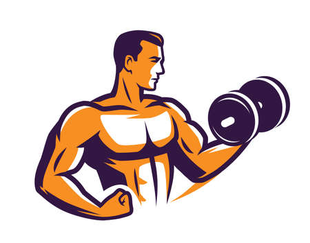 Gym logo. Bodybuilder lifting dumbbell vector illustration 向量圖像