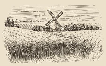 Windmill in a rural landscape. Wheat field sketch vintage vector illustration Vecteurs