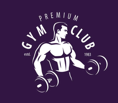 Gym club. Bodybuilder strong muscular man pumping up biceps muscles with dumbbells 向量圖像